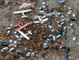 Sendai (Miyagi): After the earthquacke - After the earthquake the Tsunami waves took everything with them. Everything was flooded and in waves. Cars and airplanes were intermingled and converted into trash.