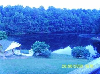 "Our Lake At Dusk - This was taken at dusk when there was very little sunlight left. That's why it's so dark and ""bluish""."