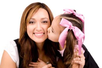 Happy mother - Happy mother is smiling for daughter kiss..