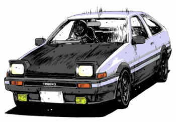 The AE86 - The car with the Panda color scheme. Made popular by the comics, and the movie!