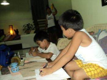 Kids doing Homework - Doing the Homework