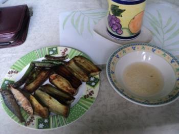 Fried Eggplant, etc. - A healthy breakfast treat