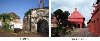 Malacca Old Town - Malacca Old town building, the A Famosa fotress and Christ Church
