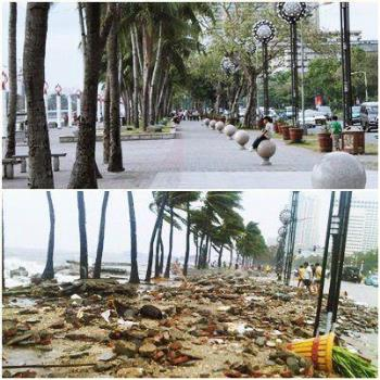 The Bay Walk Before and After the Storm - Shocking photo of typhoon destruction