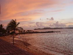 amazing,yellow and orange - the sun set on the beach in the Virgin Islands