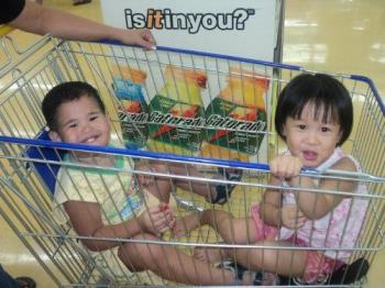 Kids on shopping cart - Shopping with children