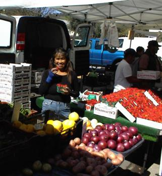 Maria Wright Displaying Her Produce at Templeton's - This is one of my favorite vendors at Farmers Market in Templeton