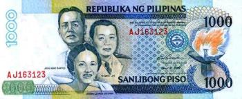 One Thousand Pesos - The Philippine one thousand-peso bill (?1000) is a denomination of Philippine currency. José Abad Santos, Vicente Lim, and Josefa Llanes Escoda are currently featured on the front side of the bill, while the Tubbataha Reefs Natural Park and the South Sea pearl are featured on the reverse side.