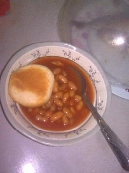 My favorite - This is pandesal with pork and beans