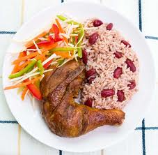 rice and peas - This is a Jamaican tradition , we normally cook this on Sunday .