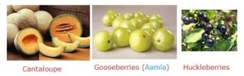 Fruits - Cantaloupe, Gooseberries and Huckleberries