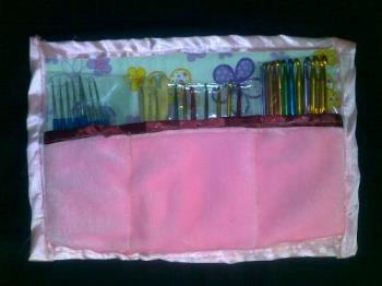 handmade crochet hooks case - handmade bag for crochet hooks