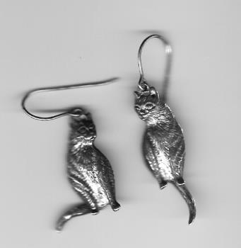 Cat Earrings - Silver cat earrings, with waggily tails.