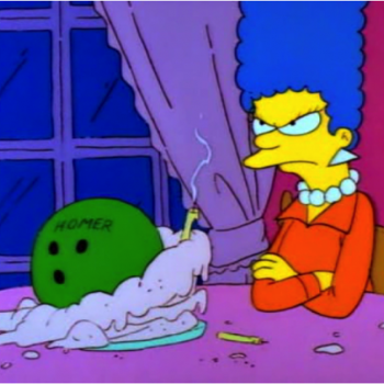 You're post made me think of this episode of The S - In this episode Homer buys Marge a bowling ball for her birthday with his name on it because it was really something for him.