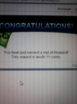 myLot reward notice -  This photo was taken a while ago whehn I received a myLot reward. :)