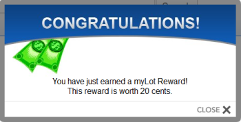 Example of my 20c win! - My highest win from myLot rewards has been $0.20.