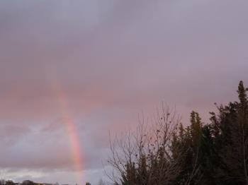 Rainbow - I saw this rainbow tonight just before sunset, even though it was not raining where I was.