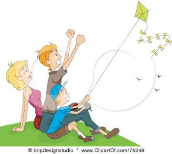 Flying kites with Mom and Dad - It is a lot of fun to fly kites with Mom and Dad.