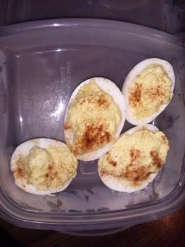 what is left of the deviled eggs that I made