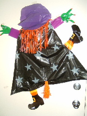 witch at halloween - she crashed into my door