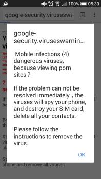 Pop-up nasty warning