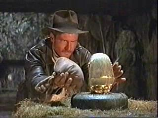 Indiana Jones switches Bag of Sand (Salad) for Golden Idol (Meat)