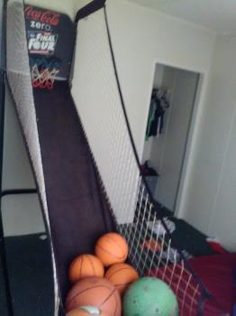 Basketball game in his bedroom