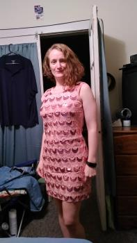 Pretty in a new dress. Photo is mine.