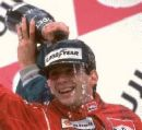 Aryton Senna  - Picture of Aryton of a victory with the campaign flowing