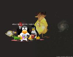 Linux Family - Logos of Linux varian. There's Slackware,Debian,SuSe,Red Hat