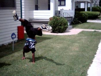 my son doing a head stand - my son doing an head stand