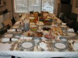 Thanksgiving Table - Picture of a large thanksgiving table all set and ready to go.