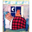 Sweet Dreams - cartoon of couple in bed sleeping with moon shining thru the window