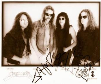 Metallica band  - A picture of Lars Ulrich, James Hetfield, Kirk Hammett, and Jason Newsted from the band Metallica.