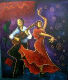 Flamenco Dancing - painting of a flamenco dancer and a seated guitarist.