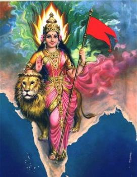 India - Indian people called India as bharatmata.That' why Mata (mother) is showen in Indian map.