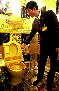 gold toilet - toilet for rich people made of gold