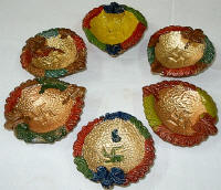 decorated diyas - We light them at night on Diwali day