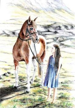 'A young Arwen'  - Arwen when she is still a child, walking with her horse