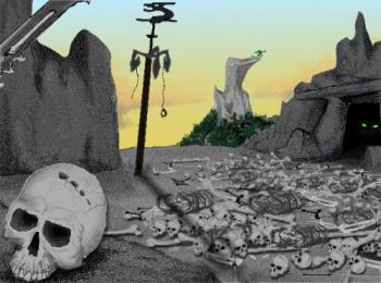 'Lair of the Canidragon'  - This picture was originally done in pencil and scanned into Painter and colored. The rock face was done in a granite style by blending two colors in the paintbox, a feature I've only seen on Painter. The scene is a young warrior with his lance (blade visible in upper corner) slowly approaching the creature's lair. A canidragon, while not a true dragon, is named for its magical hybridation of wolf and basilisk. This highly territorial and fierce creature is often employed to guard entrances of cave dwellers or wizard fortresses. If you look closely or adjust the brightness settings of the picture- you can actually see it inside the cave.