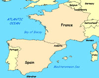maps - spain and france
