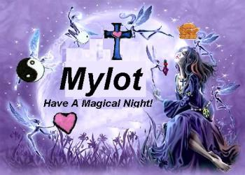 Have a nice night! - this is a picture of a moon and a princess and some little fairies hovering around her bringing her things and with the words Mylot have a magical night.