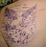 start of vulture tattoo.