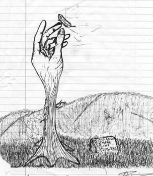 'Weeping Winds'  - This one is really just saying, 'things aren't always what they seem'. I also wanted to say, take a hold of your life, you've only got one chance to make it your best, grasp the dream. But then, I kinda wanted to add some satire, with that stone sign, its just saying, take a hold of life and live it to the fullest, but everynow and then just stop and admire in awe of what you have.