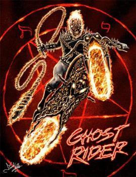 Ghost Rider - Ghost rider on his flaming motorcycle.