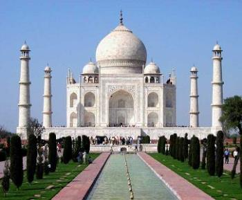 The Taj Mahal - Here's a picture of the beautiful and historic Taj Mahal in India.
