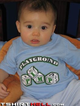 Bizarre  baby tshirts - Baby wearing crazy messages on its tshirts...check them out...funny stuff.