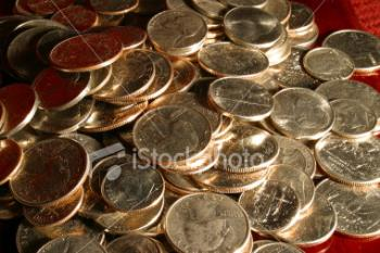 coins - A photo of a pile of american coins.