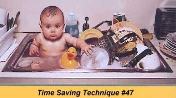 Baby bathing - Well done mom!!! Very Efficient and you saved the water :)