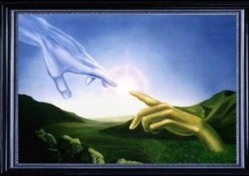 The Hand of Friendship - Hands reaching out to touch each other forming a bond between Heaven and Earth.